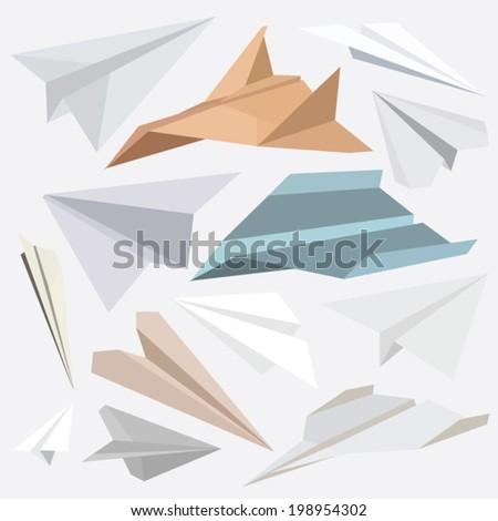 origami paper plane collection for websites-flat design