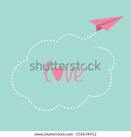 Origami paper plane. Dash cloud in the sky. Love card. Vector illustration. - stock vector