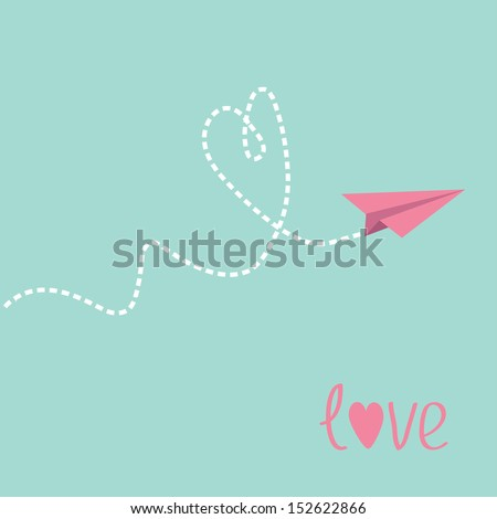 Origami paper plane. Dash heart in the sky. Love card. Vector illustration. - stock vector