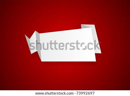 Origami paper sheet on red. Vector EPS8. - stock vector