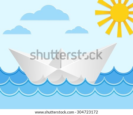 Origami paper ship on ocean waves. Travel transport toy, cruise and vessel. Vector illustration