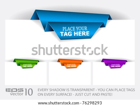 Origami Paper tag with TRANSPARENT shadows. You can place it on every surface! - stock vector