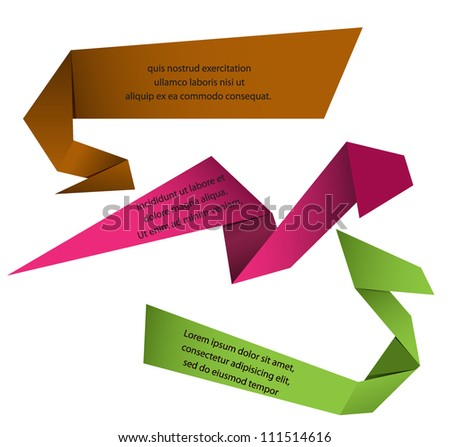 Origami papers with place for text - stock vector