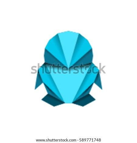 Origami Penguin Vector On White Background