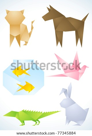 Origami pets made out of colored paper - stock vector