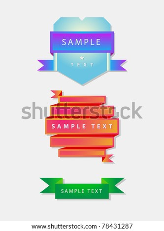 origami ribbons and shield with sample text