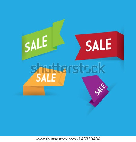 Origami Sale Labels - stock vector