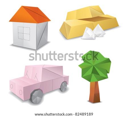origami set symbol - stock vector