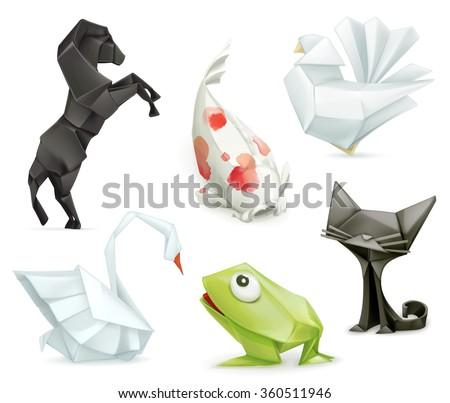 Origami set vector icon - stock vector