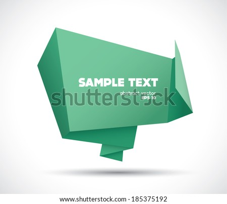 Origami speech bubble paper banner vector background - stock vector