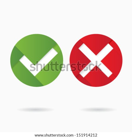 Origami style accept signs / accept sign  - stock vector