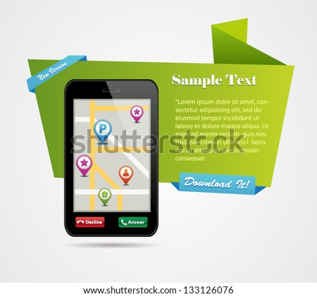Origami Style Banner with smart phone. Vector Illustration - stock vector