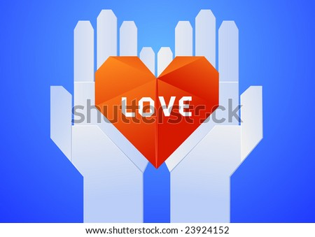 Origami-style hands holding heart - stock vector