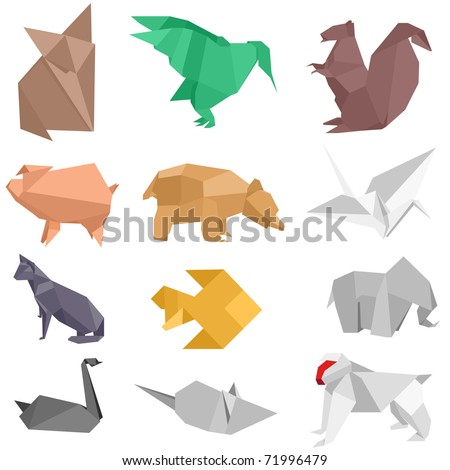 origami-style illustrations of different animals - stock vector