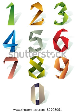Origami style numbers set. - stock vector