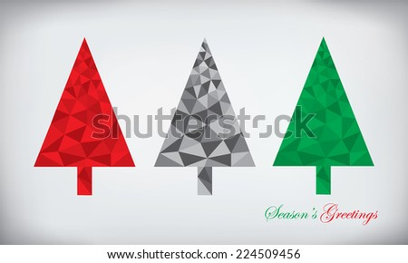 Origami style polygonal paper abstract christmas tree - stock vector