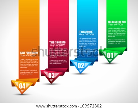 Origami style ranking paper. Ideal for info graphics, stylish graphs and histograms. - stock vector