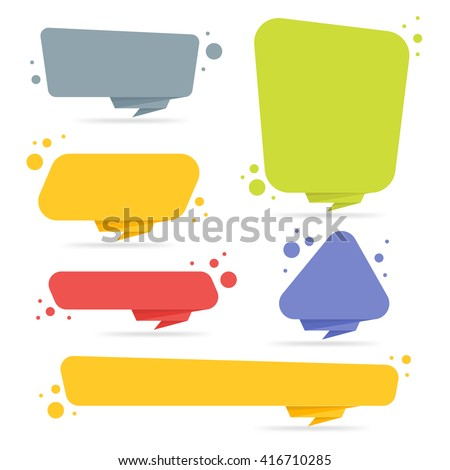 Origami style sticker banner template isolated stock - Text banner design ...