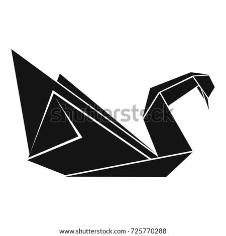 Origami Swan Icon Simple Illustration Origami Stock Vector 725770288