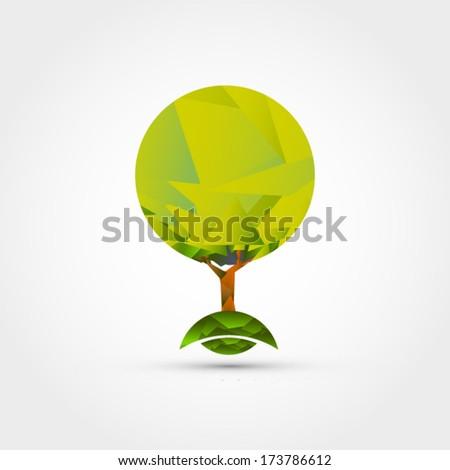 Origami tree vector - stock vector