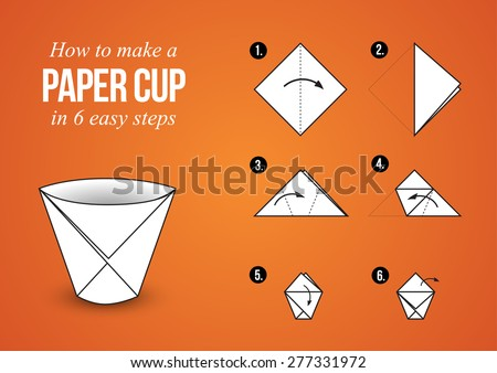Origami Tutorial â?? Make a Paper Cup in 6 easy steps with orange background (landscape orientation) - stock vector
