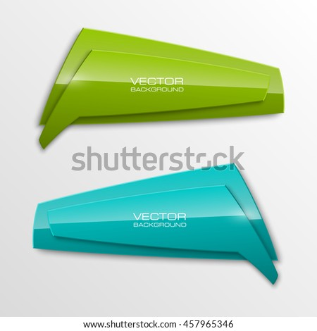 Origami vector banner. The original form as two form, overlapping. The flat image. Advertising Design shape. Vector label tag. - stock vector