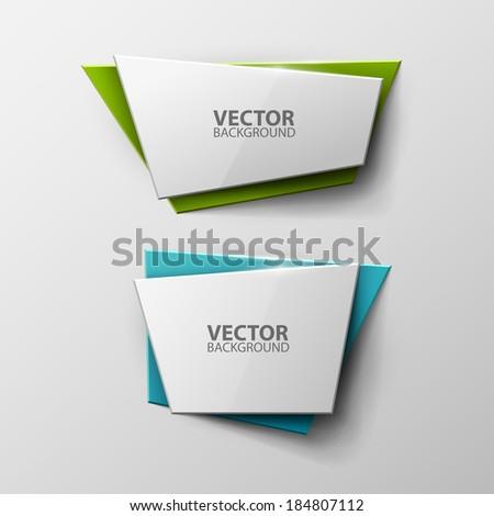 Origami vector banners set  - stock vector