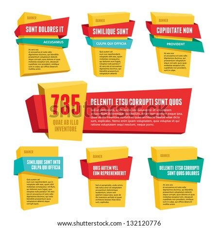 Origami vector banners set for advertising, presentation, infographic, booklet, website and other projects. Design elements. Polygonal badges with ribbons. Speech bubbles.  - stock vector