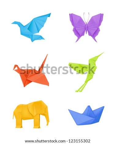 Origami vector set, multicolored - stock vector