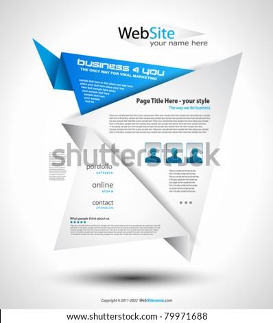 Origami Website - Elegant Design for Business Presentations. Shadows are  transparent - stock vector