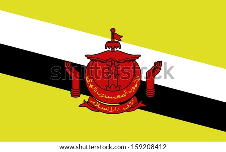 original and simple Brunei Darussalam flag isolated vector in official colors  and Proportion Correctly The Brunei Darussalam is a member of Asean Economic Community (AEC) - stock vector