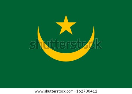original and simple Mauritania flag isolated vector in official colors and Proportion Correctly - stock vector