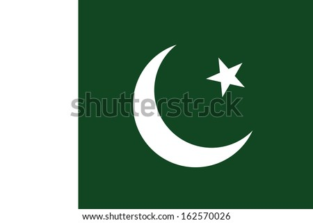 original and simple Pakistan flag isolated vector in official colors and Proportion Correctly (The Crescent and Star Flag) - stock vector
