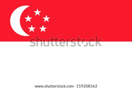 original and simple Republic of Singapore flag isolated vector in official colors  and Proportion Correctly The Singapore is a member of Asean Economic Community (AEC) - stock vector