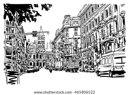 original black and white urban architectural sketch drawing of Italy road cityscape building and cars, vector illustration