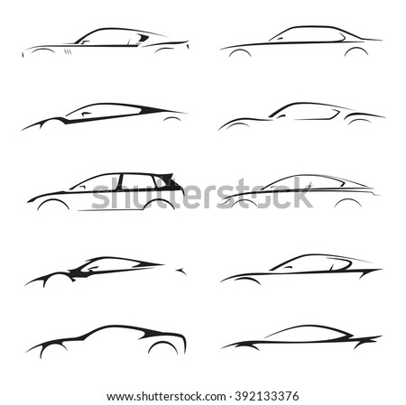 Original concept supercar, sports car and sedan motor vehicle silhouette collection set on white background. Vector illustration. - stock vector
