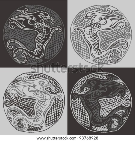 Original drawing of chinese dragon- four combinations - stock vector