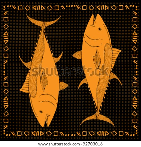 original drawing of pair  yellow fish on black background - stock vector