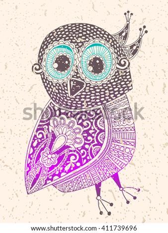 original ethnic decorative owl ink hand drawing, vector illustration - stock vector
