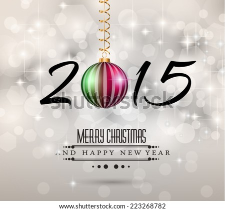 Original 2015 flat style  new year modern background with 3D style earth and soft shadows. - stock vector