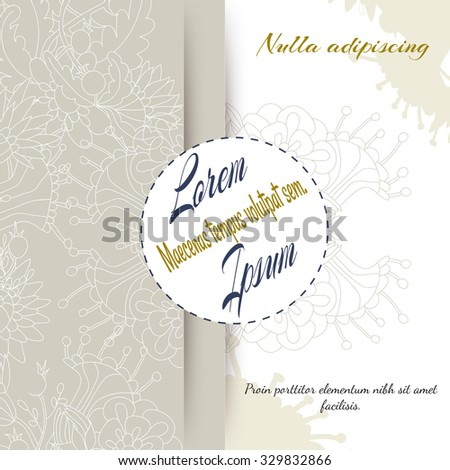 Original floral ornament on pastel background. Vector template for greeting card or wedding invitation with headlines and place for your text.  Stylish design. - stock vector