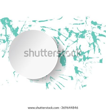 Original grunge brush paint texture design acrylic stroke poster over circle frame vector. Watercolor green drops. Original rough paper hand painted vector. - stock vector
