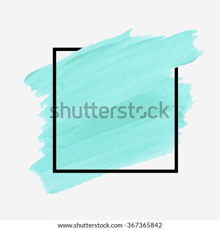 Original grunge brush paint texture design logo acrylic stroke poster over square frame vector. Rough paper hand painted vector. Perfect element design for headline, logo and banner.  - stock vector