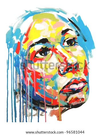 Original hand draw acrylic painting color portrait of women. Vector illustration - stock vector
