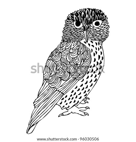 Original Hand drawing of Owl- vectorized. - stock vector