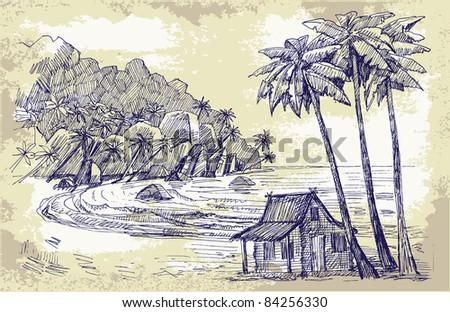 original hand drawn picture of sea - stock vector