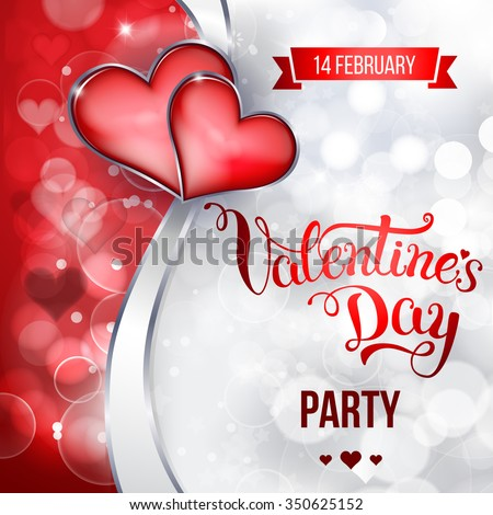 "Original hand lettering ""Valentine's day party"". Vector illustration for Valentine's day posters, icons, Valentine's day greeting cards, Valentine's day print and web projects. - stock vector"