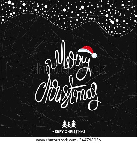 Original handwritten Xmas lettering. Merry Christmas - quote over background. Christmas art design. Great design element for congratulation or greeting cards and banners or posters. - stock vector