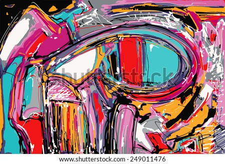 original illustration of abstract art digital painting, vector illustration - stock vector