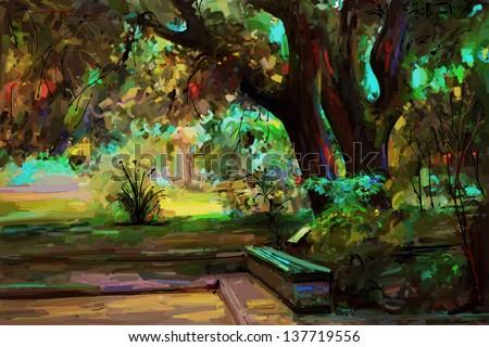 original landscape painting, park in spring, vector version - stock vector